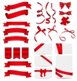 Red Ribbon and Bow Set vector image vector image