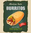 retro fast food mexican burritos poster vector image