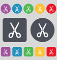 Scissors icon sign A set of 12 colored buttons vector image vector image