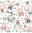 seamless childish pattern cute rabbits with floral vector image vector image