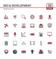 seo and developement icons red vector image vector image