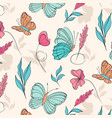 surface pattern with beautiful butterflies vector image