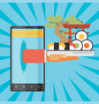 sushi delivery by mobile application vector image vector image