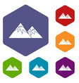swiss alps icons set vector image vector image