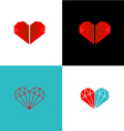 Two diamonds heart logo vector image vector image