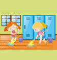 two girls mopping locker room vector image vector image