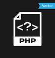 white php file document icon download php button vector image vector image