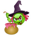 witch emoticon with cauldron vector image vector image