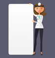 woman doctor with a blank presentation flat vector image