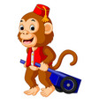 circus monkey carrying cart vector image