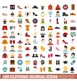 100 clothing journal icons set flat style vector image vector image