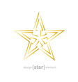 Abstract Gold star with arrows made of thin lines vector image vector image
