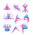 aero yoga watercolor icons vector image vector image