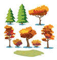 autumn plants sketch mini set vector image vector image