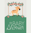 baby shower card with cute tiger vector image