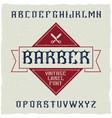 barber shop label font vector image vector image