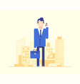 businessman speaking on the phone - modern flat vector image vector image