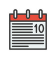 calendar icon flat with outline design pixel vector image vector image