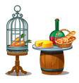 carrots in cage and wine bread and cheese vector image vector image