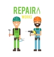 Cartoon workers couple and tools under vector image vector image