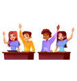 college students raise hands vector image