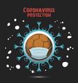 coronavirus sign and handball ball with mask