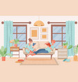 couple in domestic clothes lying on sofa and vector image vector image