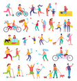 couple running and riding bike vector image