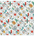 creative seamless pattern with thin line icons vector image vector image