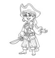 cute boy in pirate costume outlined for coloring vector image vector image