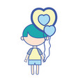 cute boy with heart balloons and hairstyle design vector image vector image