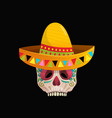 decorated sugar skull wearing sombrero for day vector image