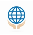 Earth in hand logo or icon vector image vector image