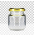 empty round glass jar with gold screw cap vector image vector image