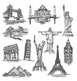 exercise book sketch of hand drawn tourist places vector image vector image