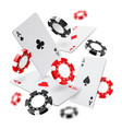 falling aces and casino chips with blurred vector image vector image