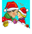 father and son christmas pop art comic vector image vector image