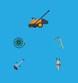 flat icon dacha set of hosepipe pump cutter and vector image vector image