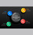 four steps infographics dark template vector image