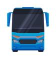 front view blue bus public transportation vector image vector image