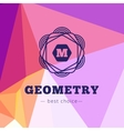 geometric flower style monogram logo on low vector image vector image