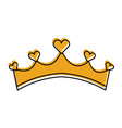 girly princess royalty crown with heart jewels vector image vector image