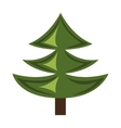 green pine tree with wooden log graphic vector image vector image