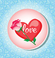 Greeting card with heart and rose vector image