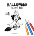 halloween coloring book cute bacartoon vector image