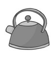 hand drawn color teapot on white background vector image