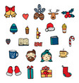 hand drawn xmas stickers collection hipster style vector image vector image
