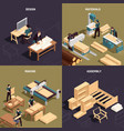 isometric furniture production icon set vector image vector image