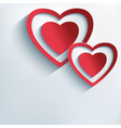 Love background with red paper 3d hearts vector image