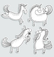 magic unicorns stickers set mistycal doodle horse vector image vector image